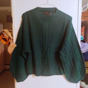 MUSTARD SEED Balloon Sleeve Emerald Knit Sweater S